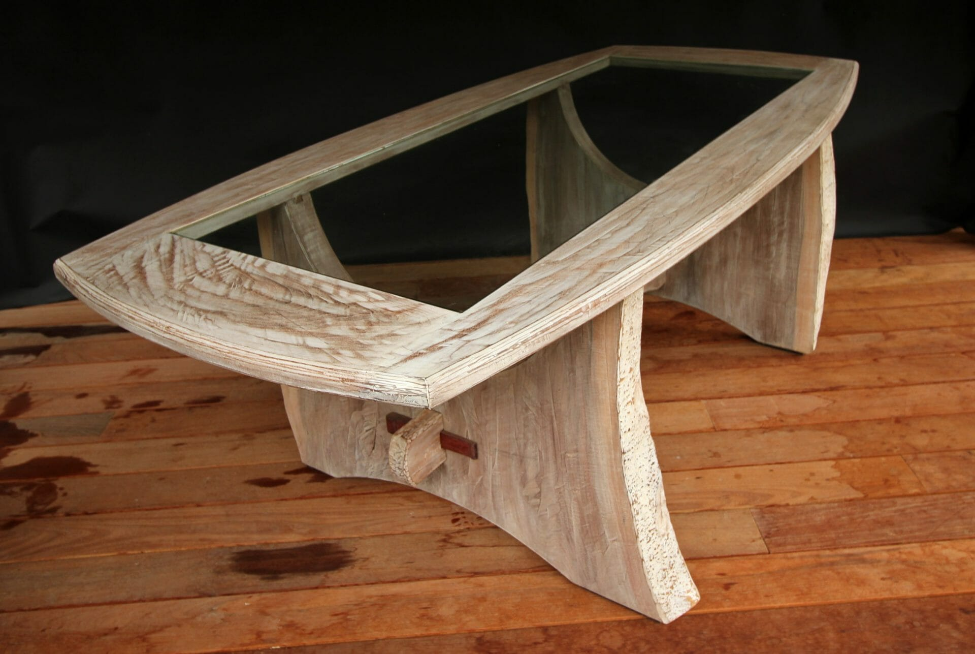 walnut dining table with glass insert