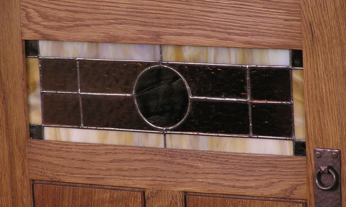 stained glass and panel door